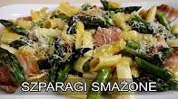Przepis na Szparagi smażone z makaronem i boczkiem